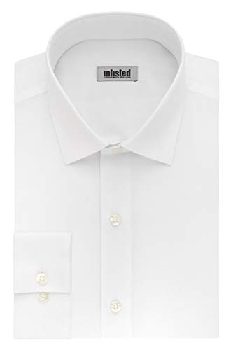 Kenneth Cole Unlisted Men's Dress Shirt Slim Fit Solid ,  White,  15