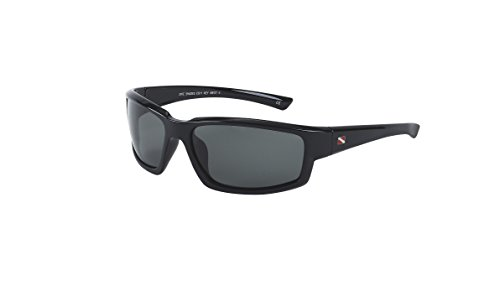 Dive Shades Key West gloss black polarized sunglass + sunglass retainer + - Sunglasses Jrs