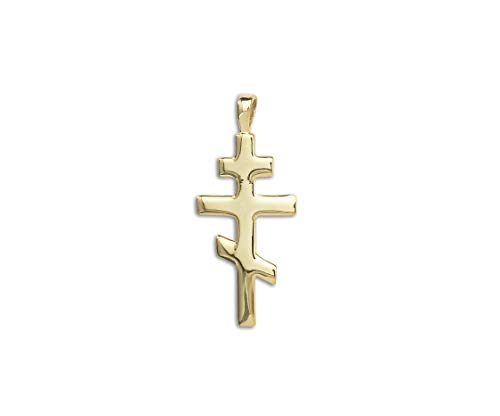 PicturesOnGold.com Solid 14k Yellow Gold Large Orthodox Crucifix Cross Pendant - 3/4 Inch x 1 1/4 ()