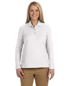- Devon & Jones Womens Pima Pique Long-Sleeve Polo (D110W) -White -XL