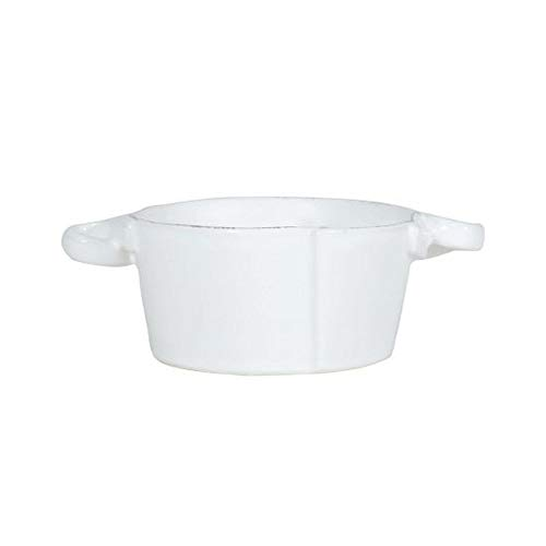 Vietri Ceramic Bowls - VIETRI Lastra White Small Handled Bowl