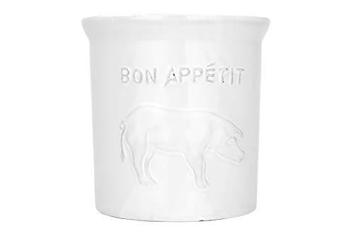 Creative Co-op Bon Appetit Embossed White Terracotta Pig Image Utensil Holder
