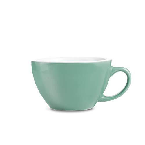 LOVERAMICS Egg Style Cappuccino Cup and Saucer, 200ml (6.7 oz) (Mint, -