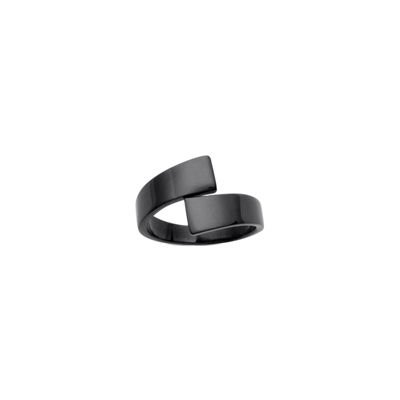 So Chic Jewels - Stainless Steel & Black Ruthenium Cross Over Ring