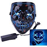 Roolina Halloween Mask LED Light up Purge Mask for Festivals, Halloween Costume, Rave, Festivals, and Cosplay (Blue)