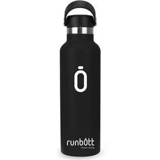Runbott Botella Agua Acero Inoxidable sin BPA con Recubrimiento OInterno Ceramico 600 ml Doble Capa con Vacio. Sin Sabor Metalico (Negro)