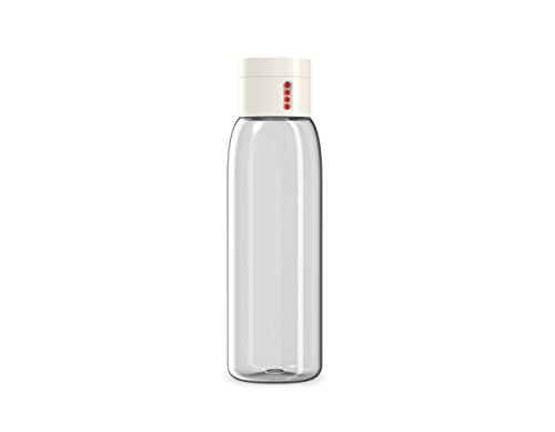 Joseph Joseph 81047 Dot Hydration-Tracking Water Bottle Counts Water Intake Tracks Consumption On Lid Twist Top, 20-ounce, White
