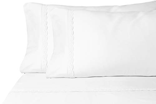 Eyelet Premium Microfiber Sheet Set - Super Soft, Deep Pocket, Embellished with Hypoallergenic, Wrinkle Resistant and Fade Resistant Brushed Microfiber – 4 Piece Set (Queen, White)