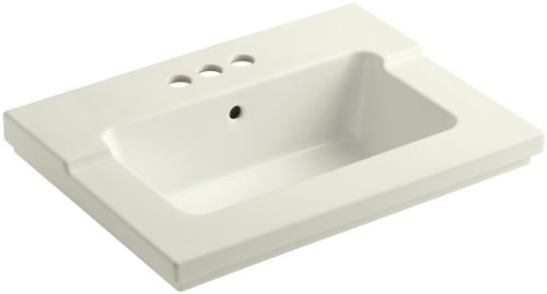 (KOHLER K-2979-4-96 Tresham One-Piece Surface and Integrated Bathroom Sink with 4-Inch Centerset Faucet Drilling,)