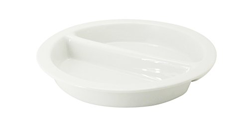 Porcelain Round Chafing Dish - CAC China BF-R17 Food Pans Bright White Porcelain Round Divided GN Pan, 15-3/8 by 15-3/8 by 2-1/2-Inch, 4-Pack
