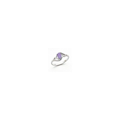 Jewelry Adviser Rings 14k White Gold 6x4mm Oval Tanzanite ring ()