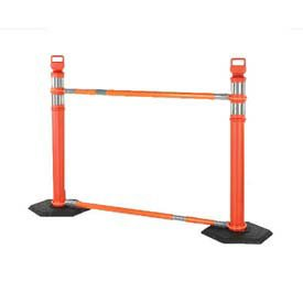 Barricade System - Cortina Safety Retractable Cone Bar Barricade System, 2 Delineators, 2 Cone Bars, 2 10Lb Bases