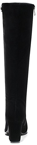 Toe Mid Chunky Black Faux Side Women's Boots Zipper Calf Pointy Chic Suede Mid Easemax Heeled With qw8RpgCx
