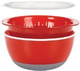- OXO 3 Piece Bowl and Colander Set, Medium, Red