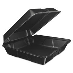 Dart Fusion 95HTB1R Foam Hinged Lid Container, 9.3w X 3h X 3d, Black, ()