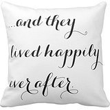 Pillow Perfect And They Lived Happily Ever After Black White Chic Print Custom Zippered Pillow Cushion Case Throw Pillow Covers 20