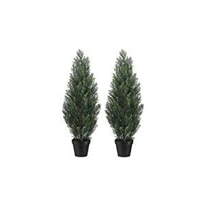 Set Of 2 Pre-potted 3 Foot Artificial Cedar Topiary Outdoor Indoor Trees 24