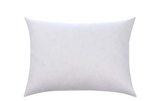 L' COZEE Premium Feather and Down Pillow Insert, Decorative Throw Stuffer Inserts, Hypoallergenic, Cotton Cover, White (12x16) ()