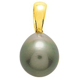 So Chic Bijoux © Pendentif Femme Perle de Tahiti 10 mm Poire Reflets Verts Or Jaune 750/000 (18 carats)