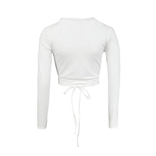 Tricot Tee White en V col Wrap Bandage longues Chemisier profond manches recadre femmes Les Top Iw6POaXqX