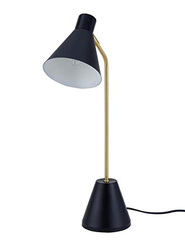 Archiology Nova Desk Lamp, Brass Plated Table Light with Satin Black Lampshade, Simple Fixture for Reading and Bedrooms, 22