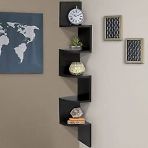 Beautiful Stackable 5 Tier Oak Zig Zag Corner Wall Shelves   Black