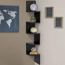 Stackable 5 Tier Oak Zig Zag Corner Wall Shelves - Black