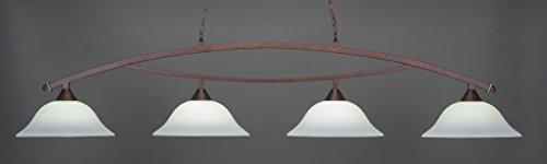 (Toltec Lighting 874-BRZ-612 Bow - Four Light Billiard, Bronze Finish with White Linen Glass)