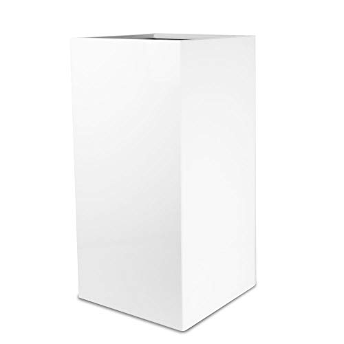 Vase Source Tall Shiny White Square Flower Pot Stand - Elegant Sleek Fiberglass Planter Pot 16