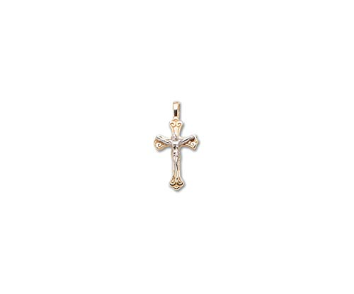 PicturesOnGold.com Solid 14k 2 Tone Gold Small Scroll Crucifix Cross - 1/2 Inch x 3/4 ()