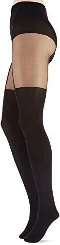 Pretty Polly Damen Suspender Tights Strumpfhose, 40 DEN, Schwarz (Black Black), One Size (Herstellergröße: OS) (1er Pack)