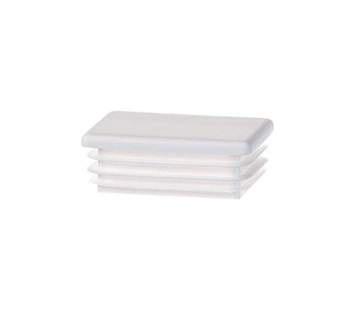 (10 pcs. Rectangular tubing end Cap 40x15 mm (1,57x0,59 inch) White Plastic Plug caps )