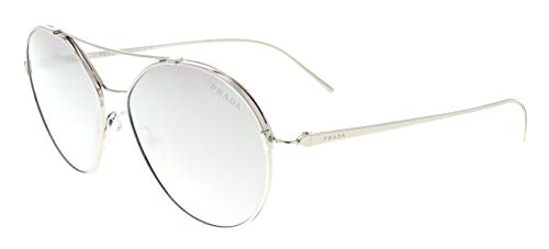 (Prada Women's 0PR 56US Silver/Light Grey Mirror Silver One Size)