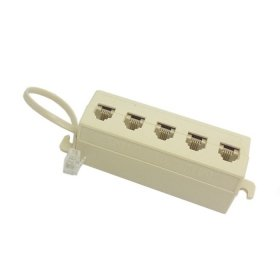 HDMIHOME 5 Way Outlet 6P4C RJ11 RJ12 Telephone Phone Modular Jack Line Splitter Adapter Beige 1-in-5-out