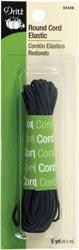 Dritz Bulk Buy Round Cord Elastic 5 Yards Black (3 Pack)