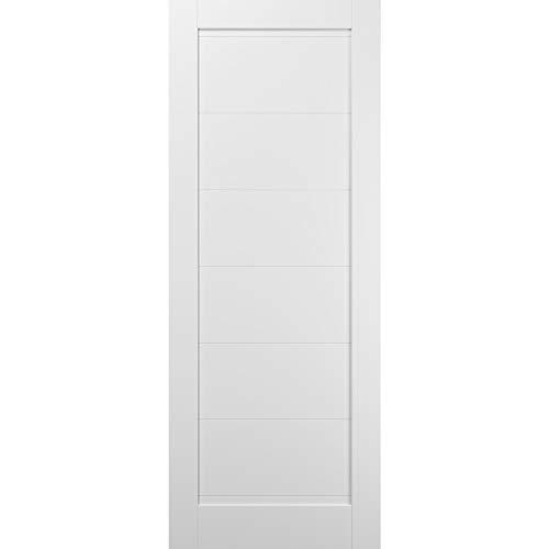 Slab Barn Door Panel 42 x 80 | Quadro 4115 White Silk | Sturdy Finished Wooden Modern Doors | Pocket Closet Sliding