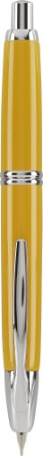 Pilot Vanishing Point Collection Retractable Fountain Pen, Yellow with Rhodium Accents, Blue Ink, Fine Nib (60434)