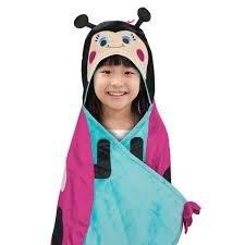Best Brands INC Bear Kids Hooded Throw Blanket - Lady Bug