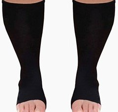 MICODEMA Compression Socks Toeless XWide - Arch and Ankle Support Band | Gradient Pressure 20mmHg Knee High Queen Plus Size Premium Hosiery | Medical Grade Soft Thick Cotton Men or Women no-Toe