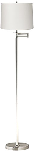 White Drum Brushed Nickel Swing Arm Floor Lamp (14 Light Transitional Floor Lamp)