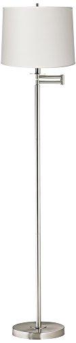 White Drum Brushed Nickel Swing Arm Floor (Brushed Chrome Swing Arm)