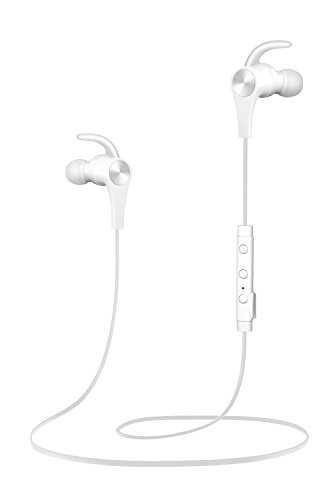 SoundPEATS Bluetooth Headphones In Ear Wireless Earbuds 4.1 Magnetic Sweatproof Stereo Bluetooth Earphones for Sports With Mic (Upgraded 7 Hours Play Time, Secure Fit, Noise Cancelling) (WHITE)