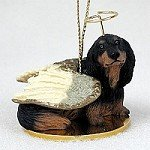 Dachshund Longhaired Black Pet Angel Ornament Dachshund Angel Dog Ornament