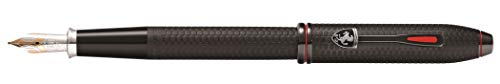(Cross Townsend Collection for Scuderia Ferrari - Brushed Black, Etched Honeycomb Pattern Fountain Pen with Two-Tone 18KT Gold & Rhodium-Plated Medium Nib)