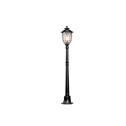 Magosca European Vintage E27 Frosted Glass Anti Rust High Pole Path Way Column Lamp IP54 Waterproof Outdoor Street Post Light Community Lawn Landscape Garden Villa Decorative Post Light