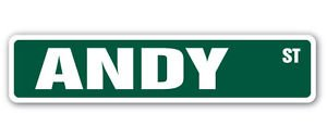 Andy Sticker - ANDY Street Sticker Sign name childrens room door gift kid child boy girl wall entry