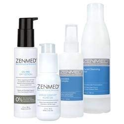 (ZENMED Acne Therapy for Combination Skin with Facial Cleansing Gel, AHA/BHA Complex, Acne Gel, Oil-Free Day Lotion )