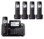 Panasonic KX-TG9542B + Three KX-TGA950B 5-Handset Corded / Cordless System (2 Line) DECT 6.0 1.9Ghz - Digital 2 Line Phone