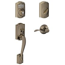 Schlage FE285-CAM-BE365-620-ACC Antique Pewter (Lifetime Finish) Camelot Keypad Handleset with Accent levers