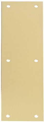 "Rockwood 70A.4 Brass Standard Push Plate, Four Beveled Edges, 12"" Height x 3"" Width x 0.050"" Thick, Satin Clear Coated Finish"